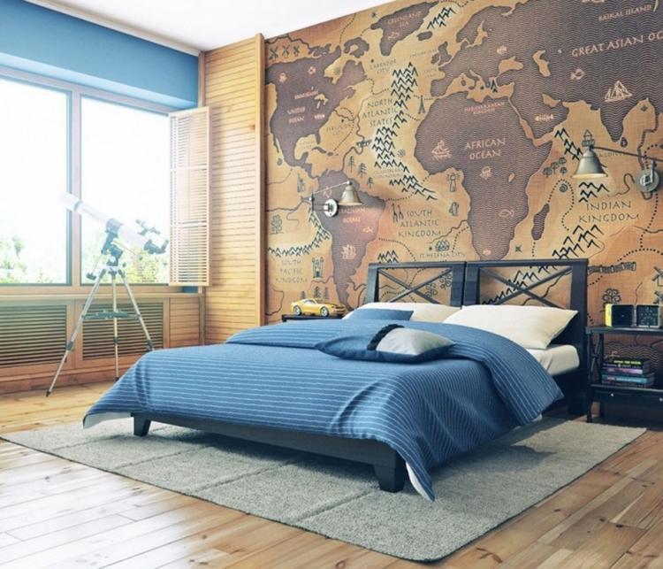 Креативен дизайн за спалня с карта на стената