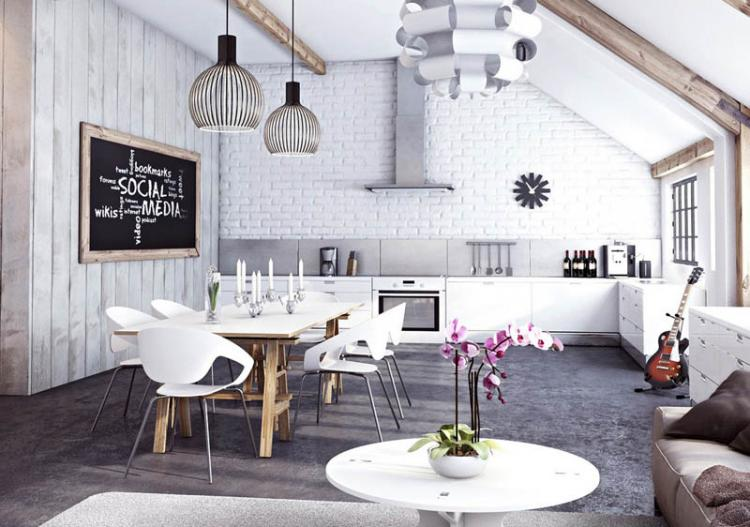 Впечатляващ интериорен дизайн с тухлени стени