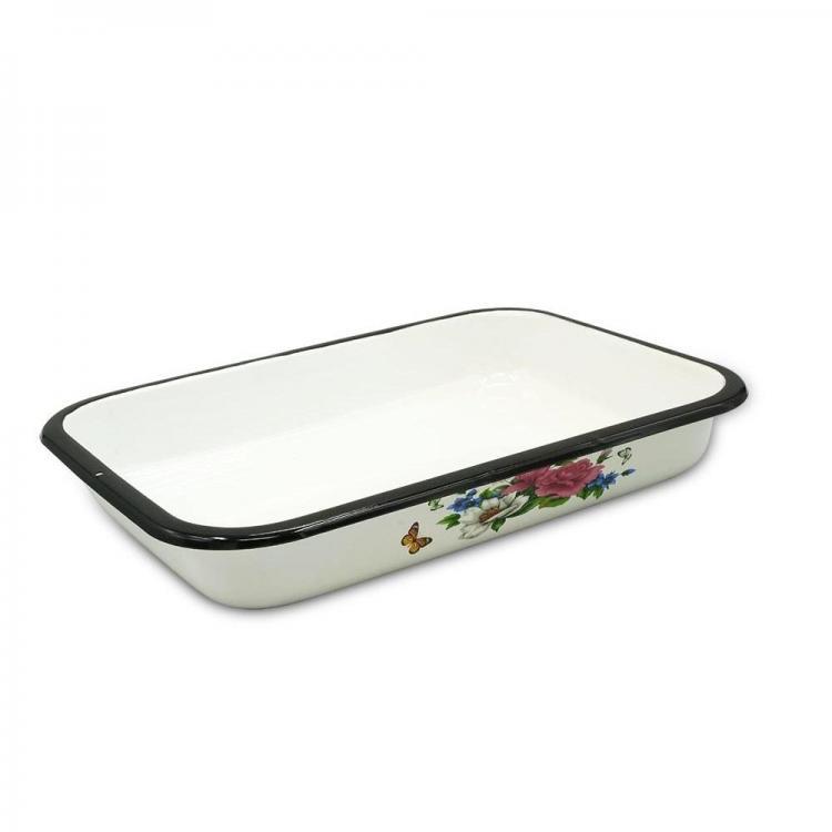 Тава за печене с емайлирано покритие SAPIR SP 1222 CB36, 36х25х6 см, Бяла