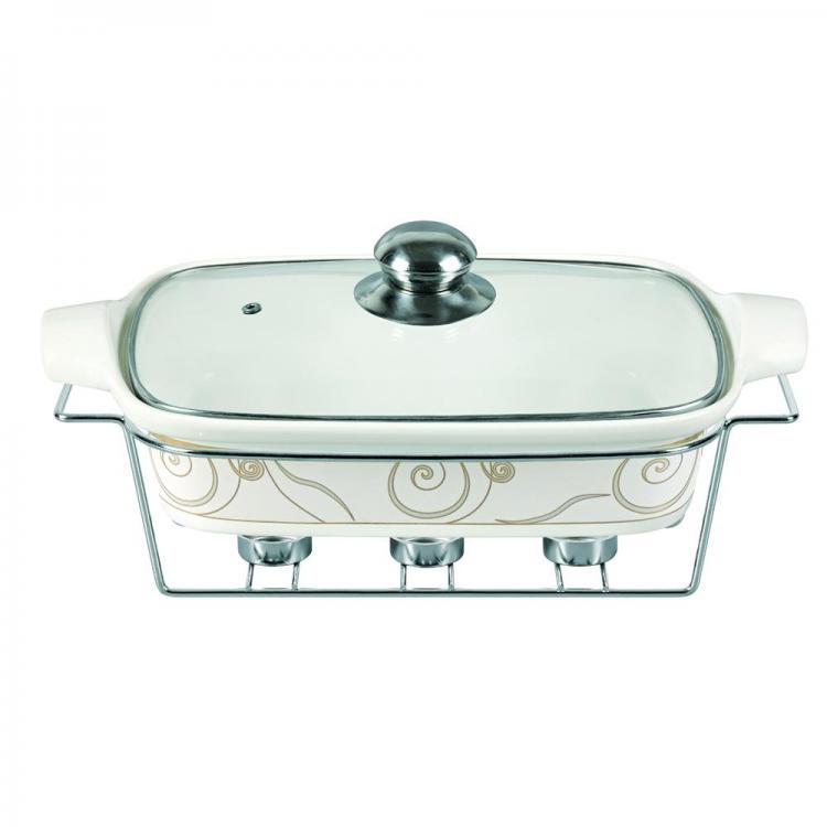 Керамичен съд за затопляне SAPIR SP 1315 RB, 2.3 литра, 38.1 см, 3 свещи за затопляне, Бял