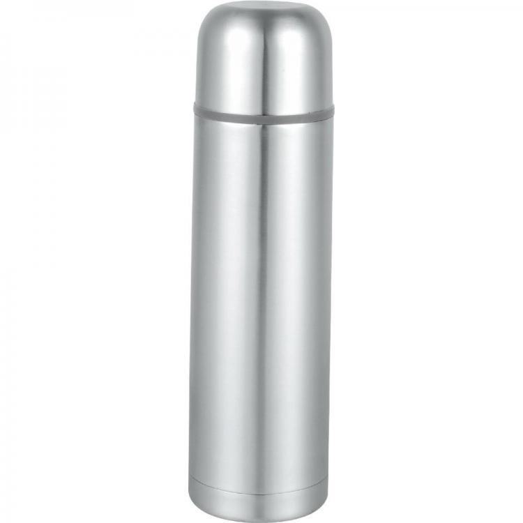 Термос SAPIR SP 2010 B, 1 литър, Кожена чантичка, Запушалка, Сребрист