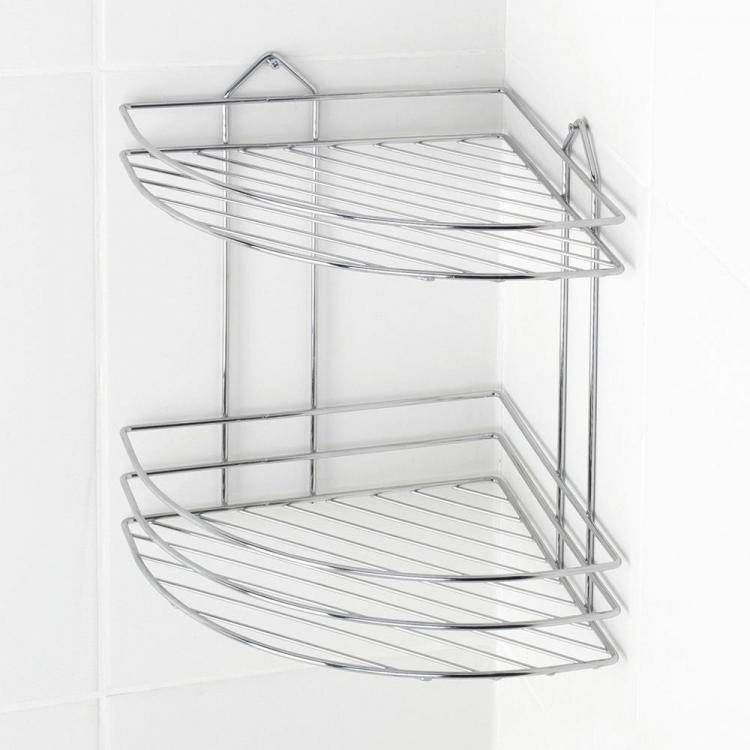 Ъглова етажерка за баня 2 нива TEKNO-TEL BK 002, Дюбел