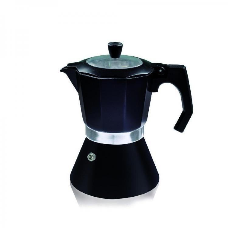 Кубинска кафеварка за 6 чаши SAPIR SP 1173 DI6, Термоизолирана дръжка, Черен