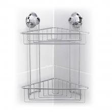 Етажерка за баня на две нива - ъглова TEKNO TEL TR DM 257,  47х32х39 см, Вакуум, Инокс